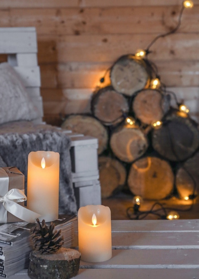 Hygge Interior Design Style and Life Philosophy: Cozy Danish Tradition. Beautiful interior decorations and candles