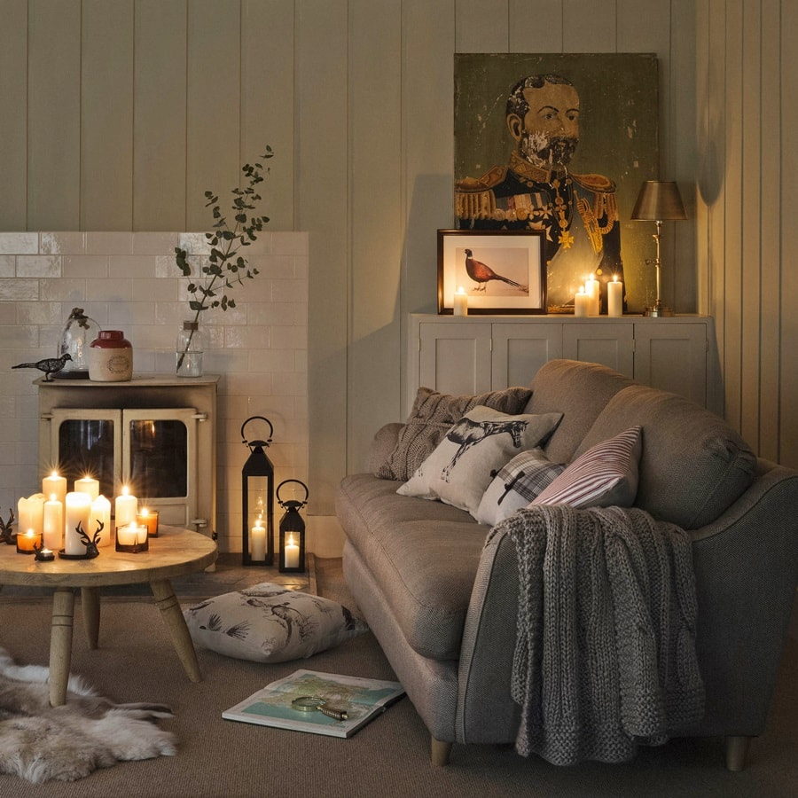 Hygge Interior Design Style and Life Philosophy: Cozy Danish Tradition. Scandinavian rustic tradtition in warm candle light