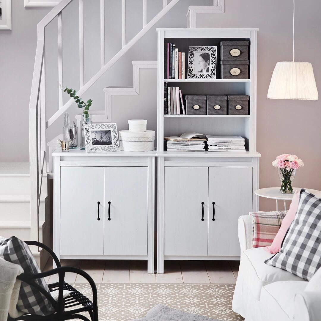 Staircase and white furniture set at the Scandi living room
