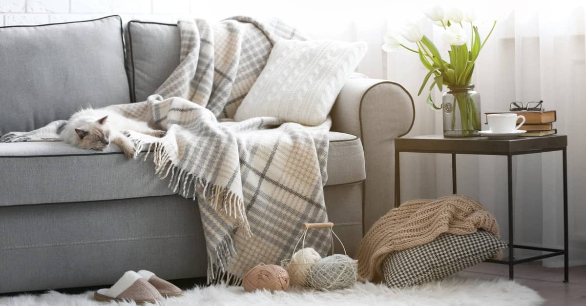 Hygge Interior Design Style and Life Philosophy: Cozy Danish Tradition. The couch with a blanket and a fluffy rug in the living