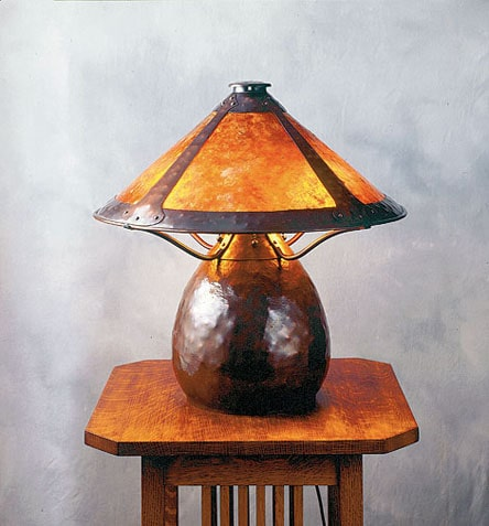 Arts and Crafts Interior Design: Origins and Perspectives of the Style. Handcrafted wooden lamp