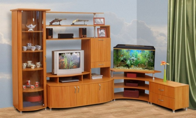 Living Room Cabinet Furniture to Add Practilcal Solutions to the Interior. Simple corner furniture set for TV and aquarium