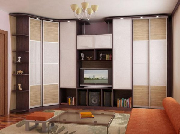 Living Room Cabinet Furniture to Add Practilcal Solutions to the Interior. Nice dark beige ceiling high set in casual style for small space