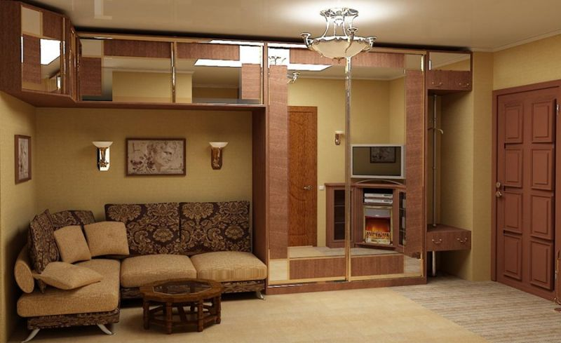 Great complex design with mirror sliding doors and included sofa