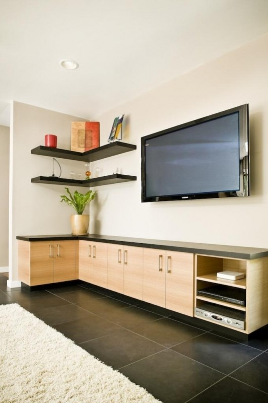 Black corner shelves and white colored wooden low set