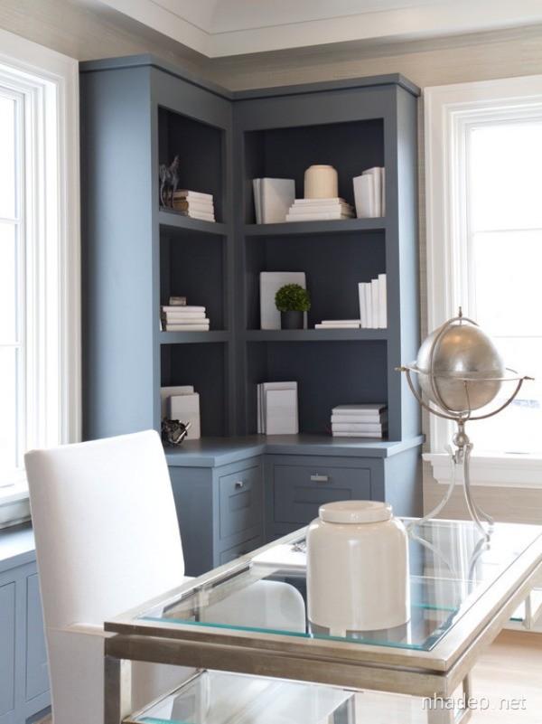 Small open corner cabinet in dark blue color