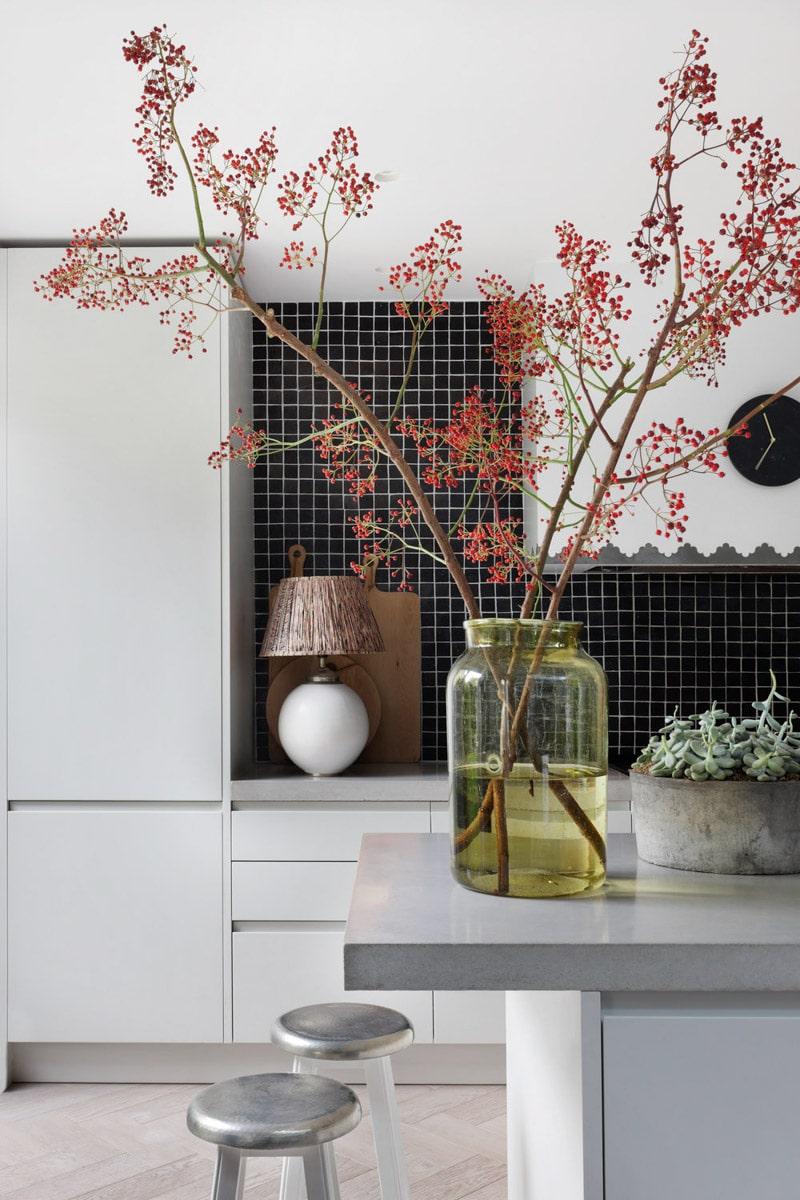 Exotic Wabi Sabi Interior Design Style: Beautiful Minimalism. Bonsai twig in the room