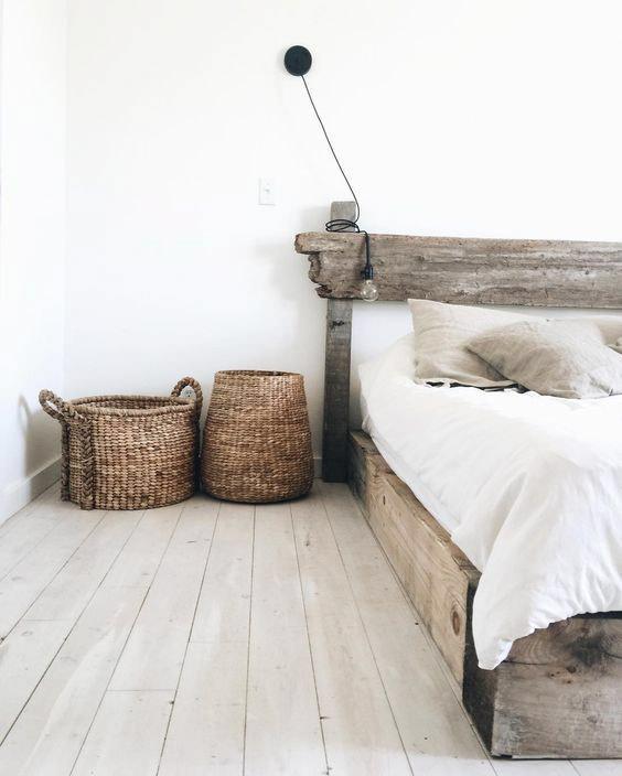 Exotic Wabi Sabi Interior Design Style: Beautiful Minimalism. Undemanding bedroom arrangement in natural materials