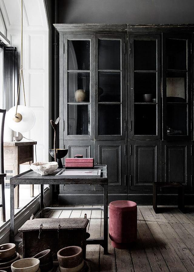 Exotic Wabi Sabi Interior Design Style: Beautiful Minimalism. Black retro dining cupboard