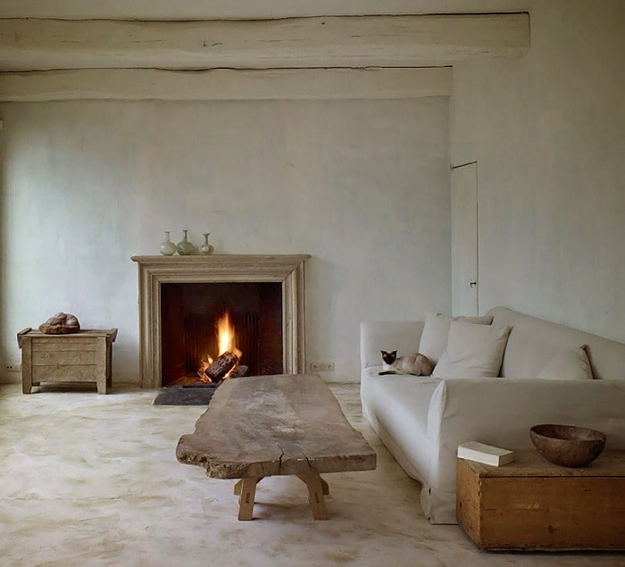 Fireplace for large ascetic minimalistic living room