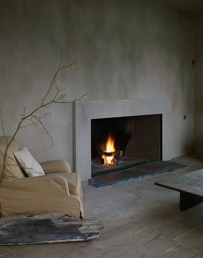 Absolutely solitary looking living with built-in fireplace though