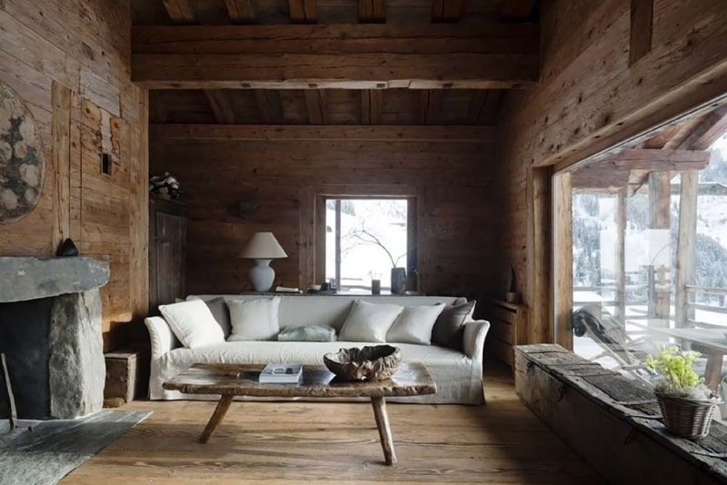 Great idea of the living room for village house in wabi-sabi style