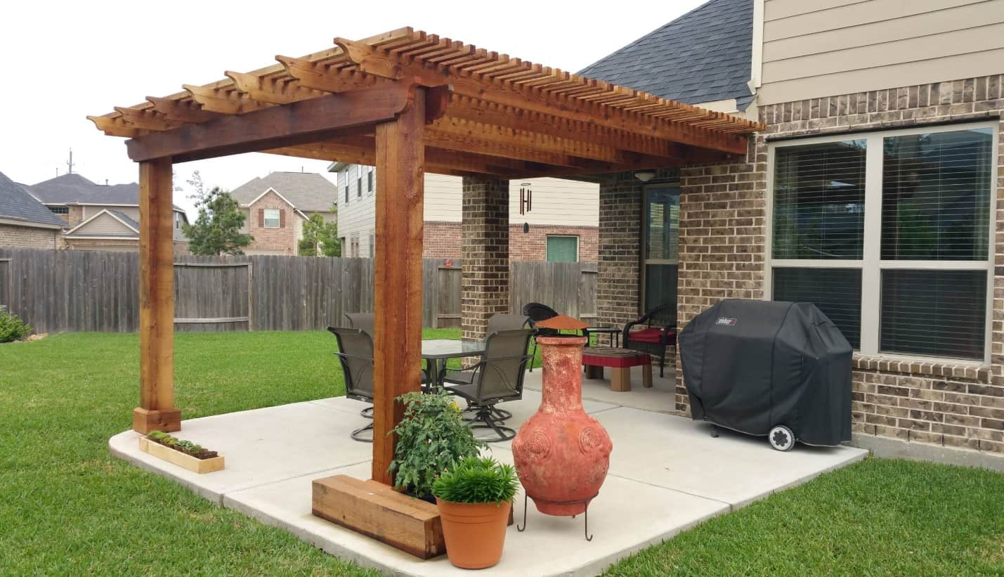 Top Reasons Why You Should Cover Your Patio or Deck. Wooden lattice over the patio zone