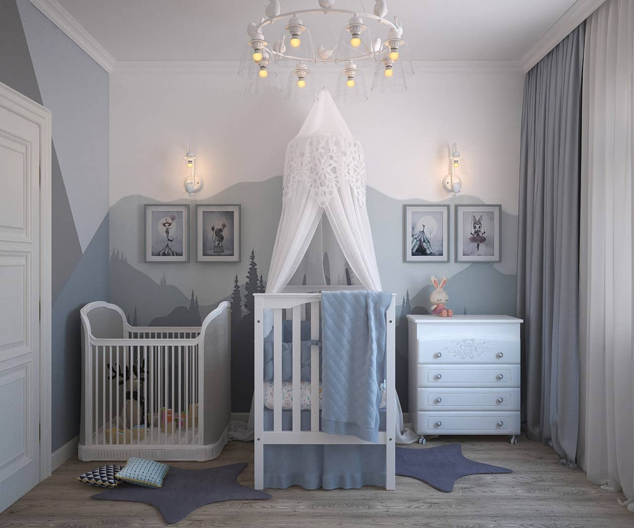 Small Kids Room: Tips for Maximizing Space. Canopy crib and another without it for tiny room