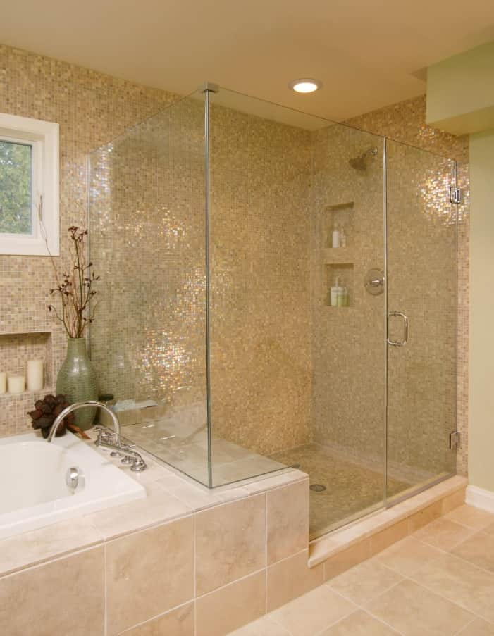 9 Great Bathroom Design Trend for 2020 and Beyond. Golden glitter of the shower zone