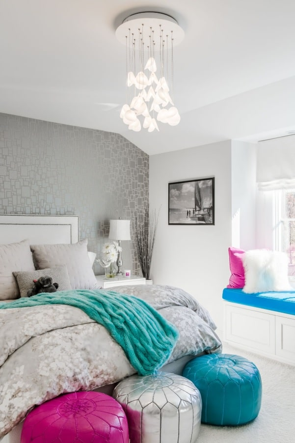 Quick Review of Types and Styles of Chandeliers. Fusion styled bedroom with bright accents and unusual design of the lighting