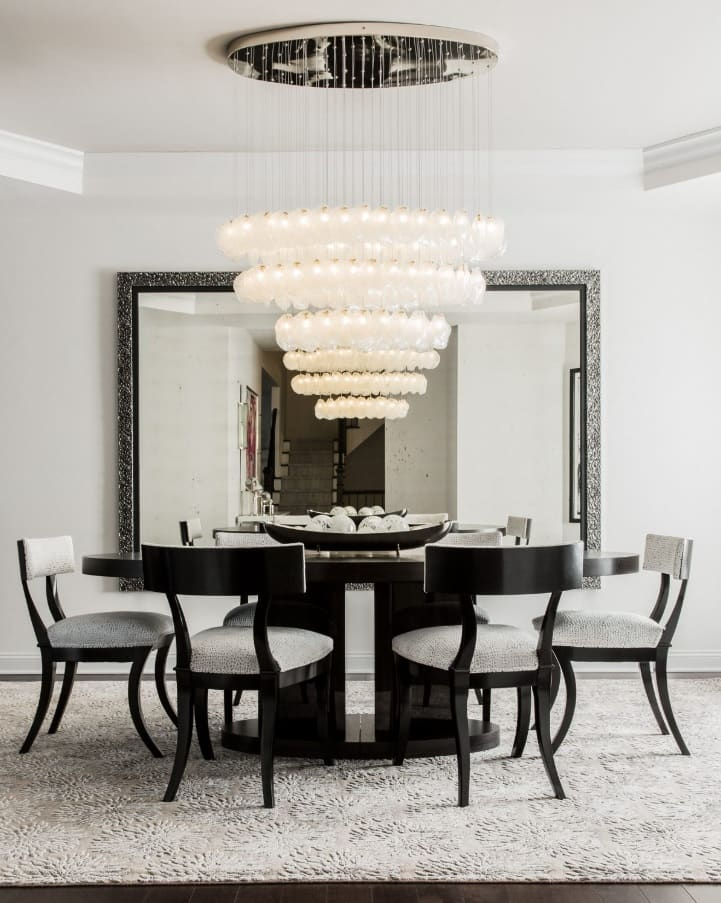 Quick Review of Types and Styles of Chandeliers. Couple of tiers designed chandelier for contemporary black and white dining