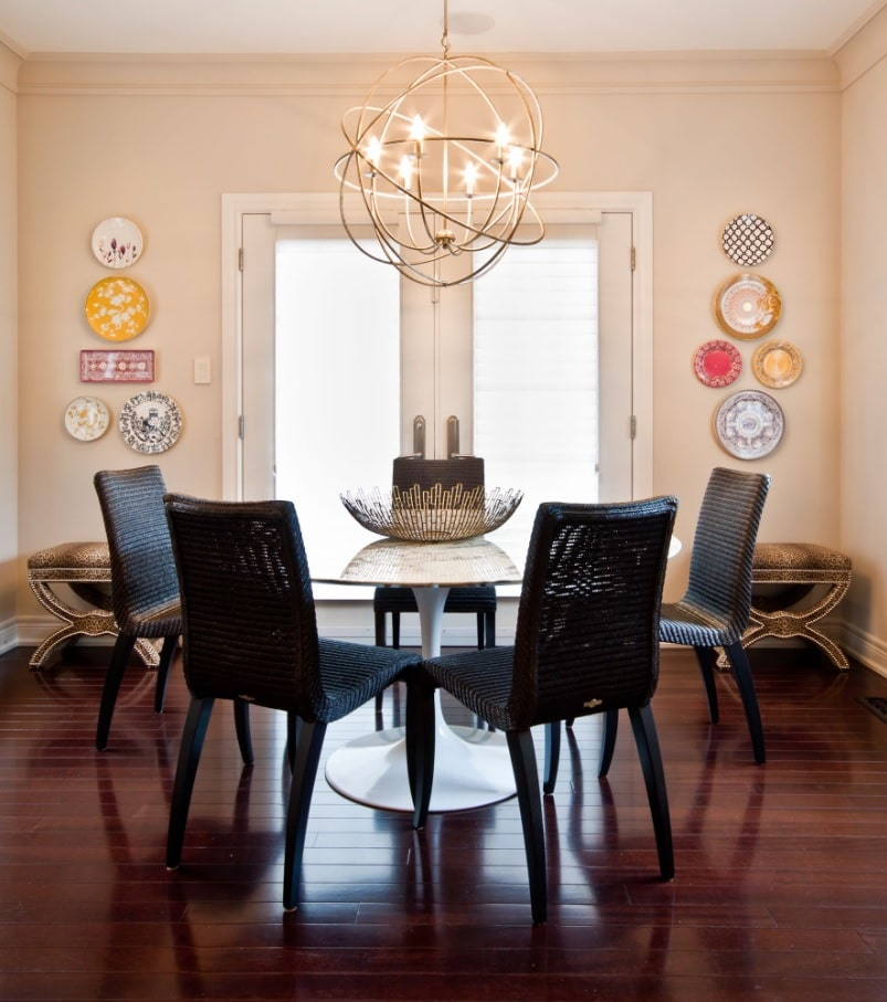 Art Deco chandelier for neat dining room with black chairs
