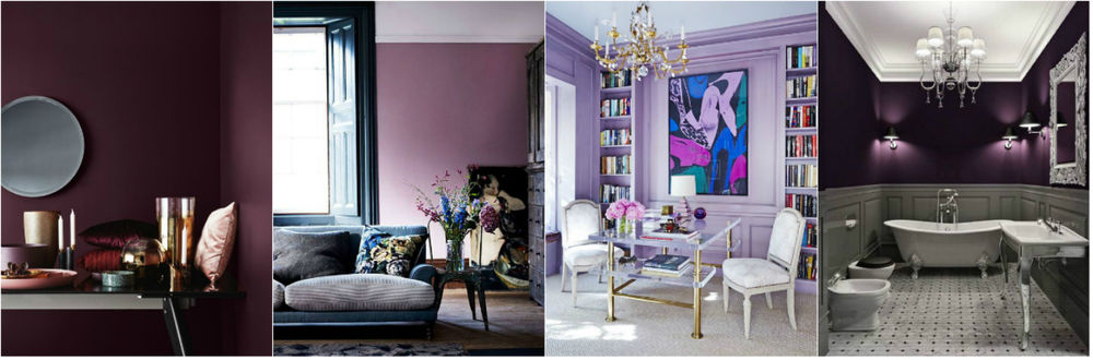 Intense and deep purple brings richness and luxury to the interior; berry, reddish-violet shades look great.