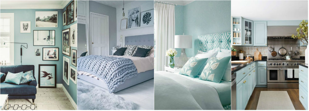 Inspiring interior in a light blue color. This color is fresh and airy.