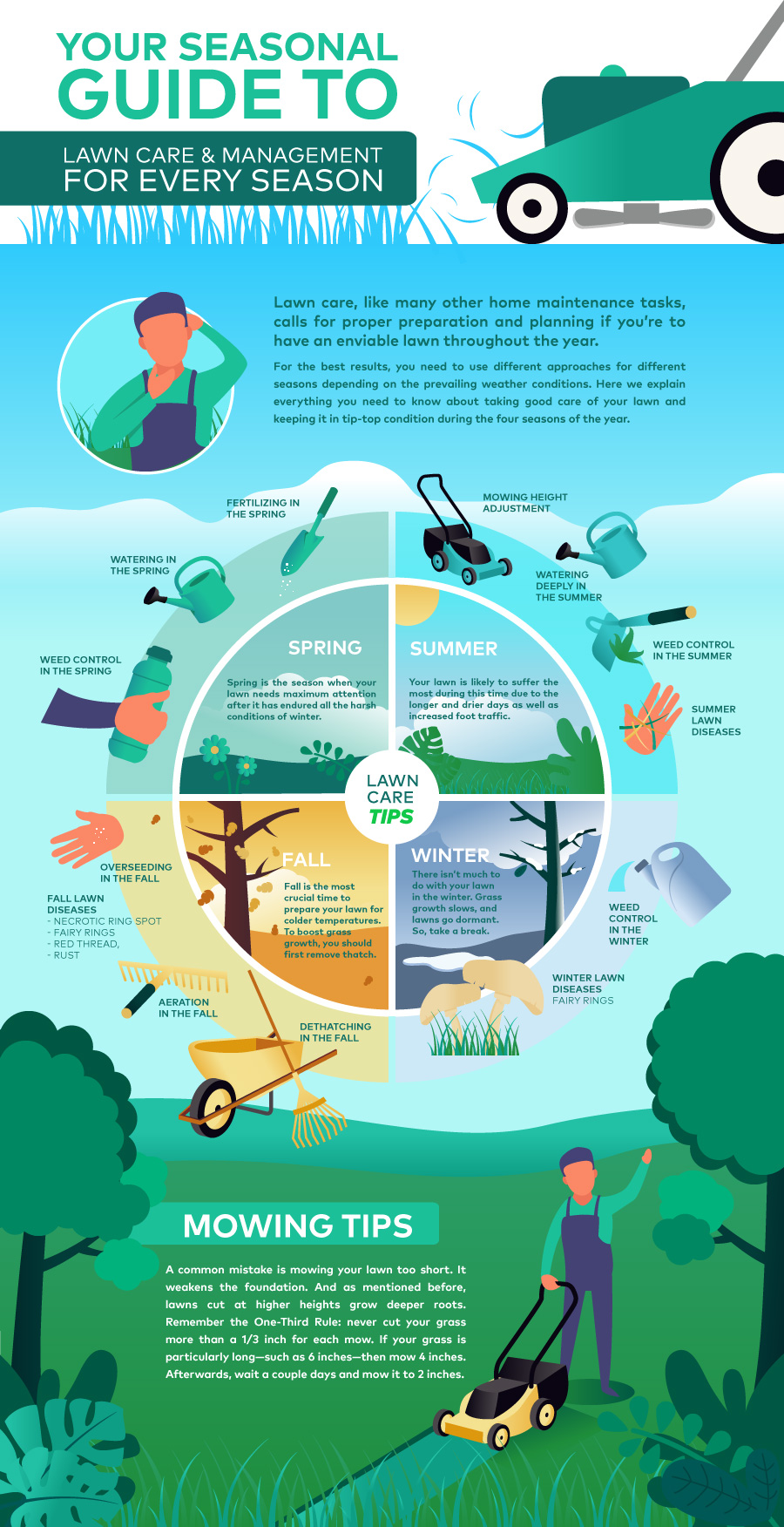 Tips for Growing the Perfect Lawn. Infographic on how to take care of the lawn