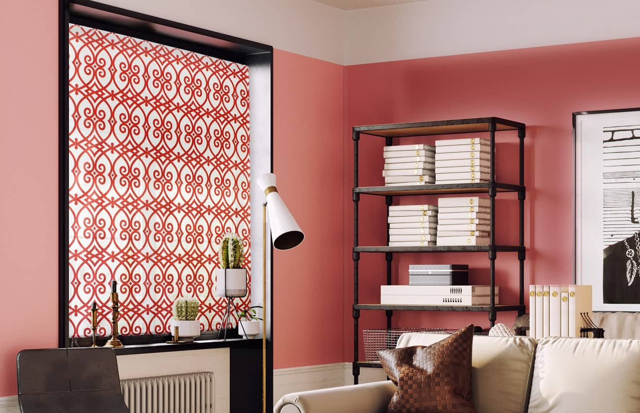 Window Treatments Trends: What's In and Out of Style? Terracotta colored walls with Arabic pattern on shades