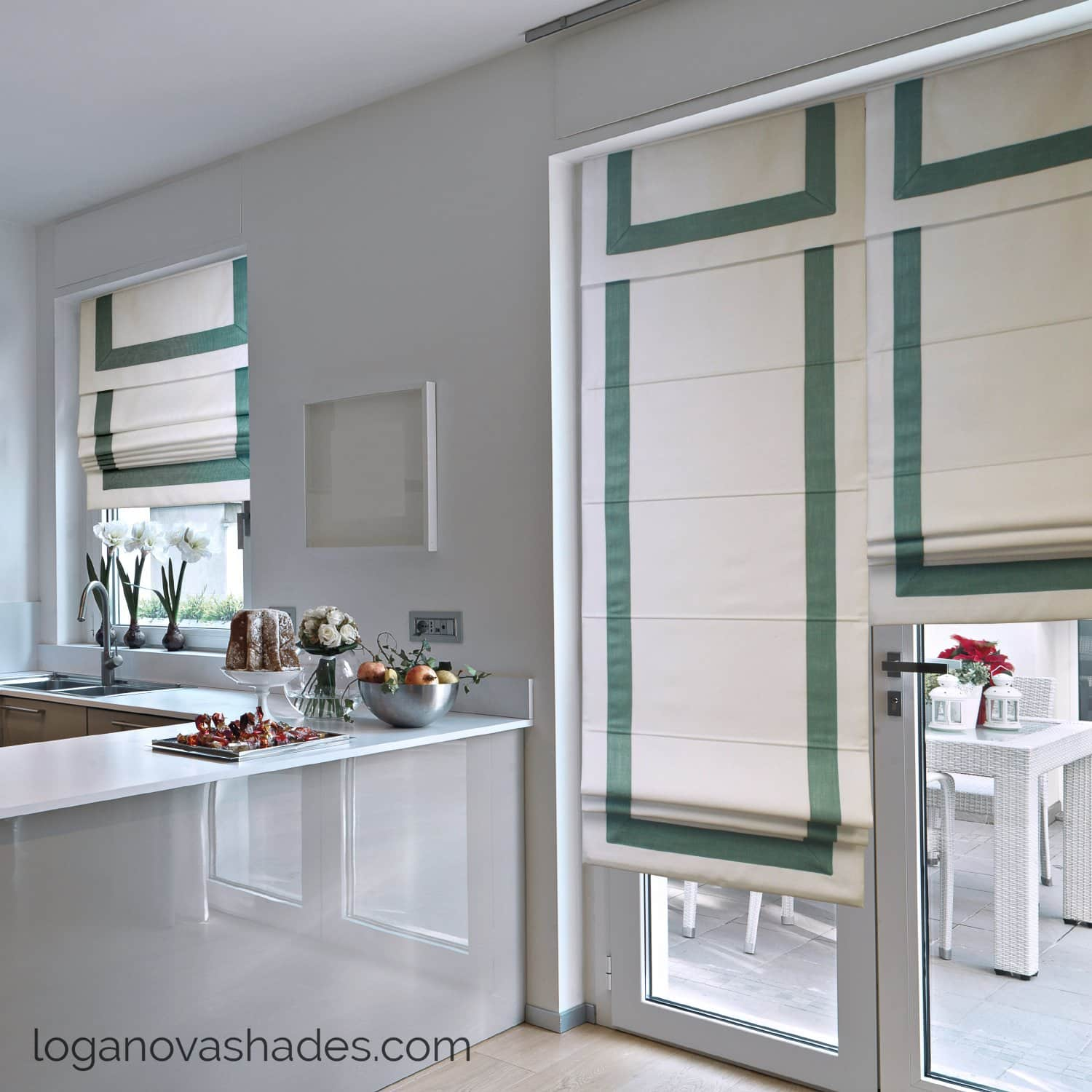 Window Treatments Trends: What's In and Out of Style? Great example of the almost imperceptible complementing shades for kitchen in white