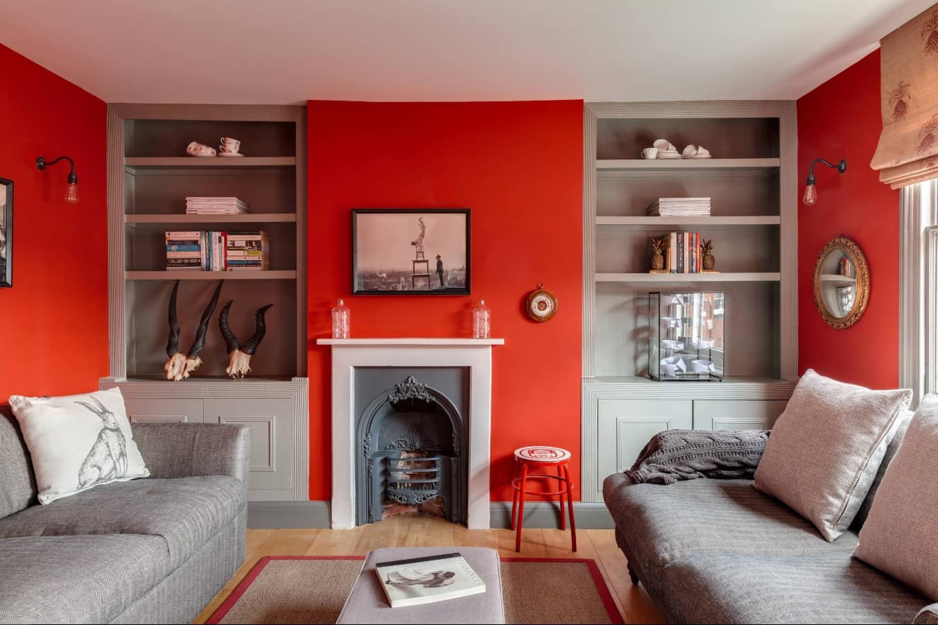 Red Living Room: Elegant & Bright Interior Design. Accent wall to decorate artificial fireplace