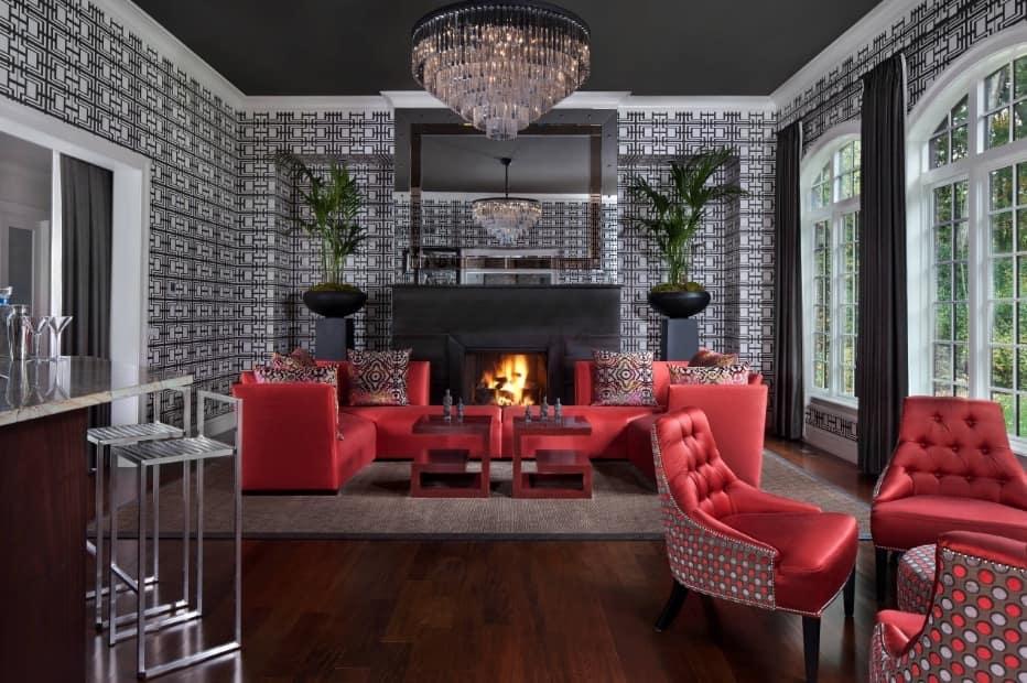 Red Living Room: Elegant & Bright Interior Design. Yet another red and gray successful combination
