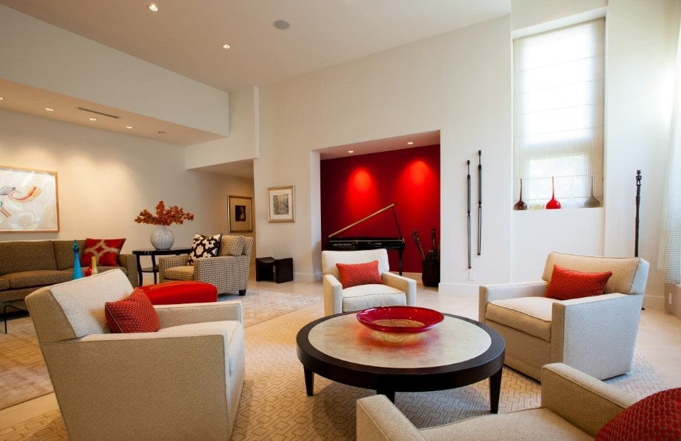 Red Living Room: Elegant & Bright Interior Design. Great idea to paint red the wall recess and to LED-light it