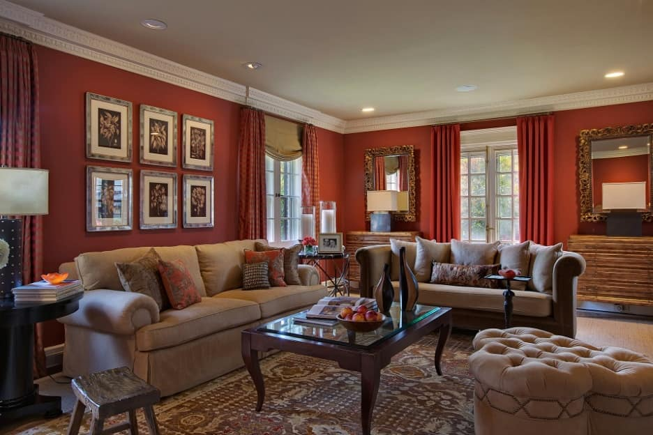 Refined classic living room interior with neat coral painted walls