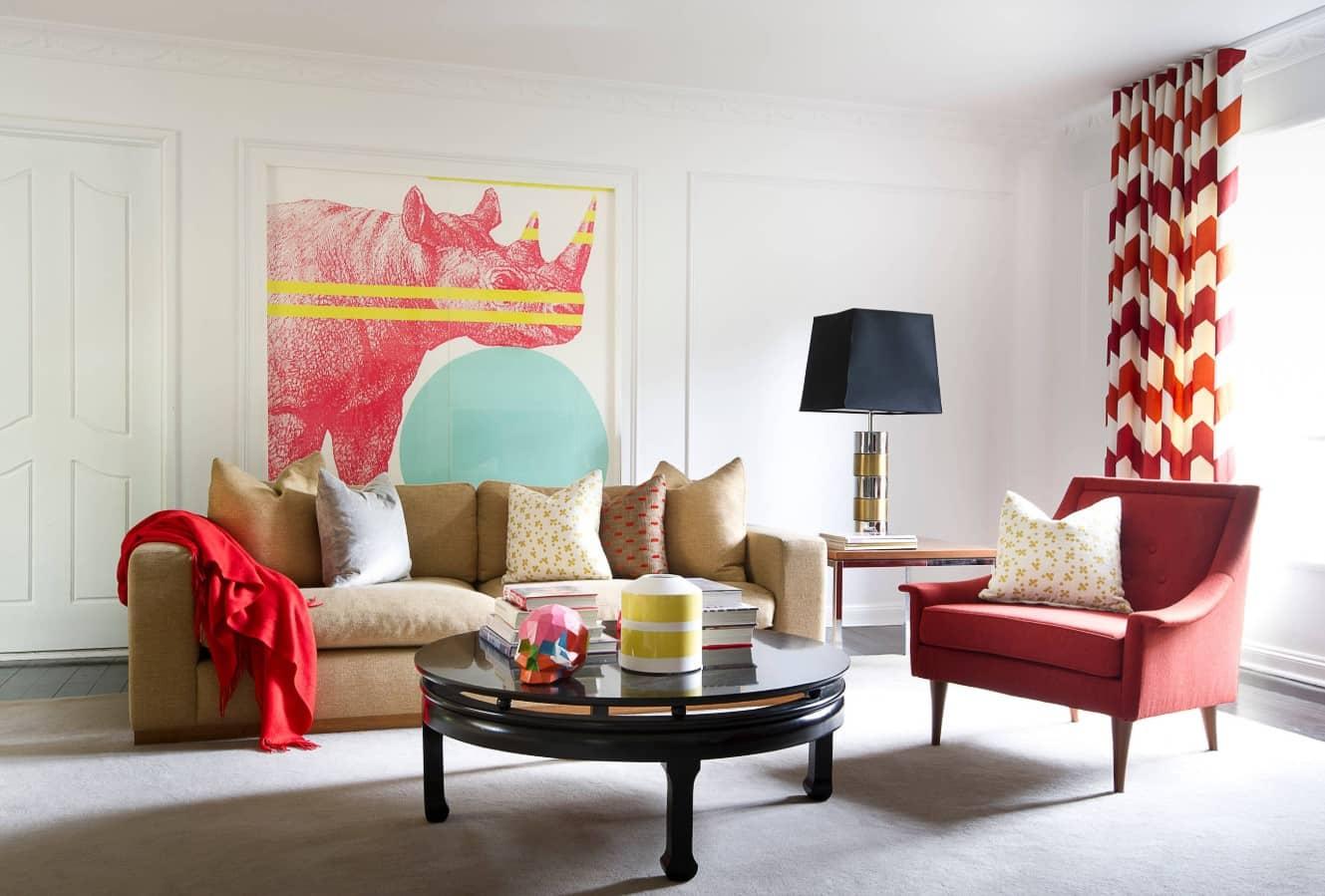 Red Living Room: Elegant & Bright Interior Design. Impressionistic painting for Art-deco minimalistic living room