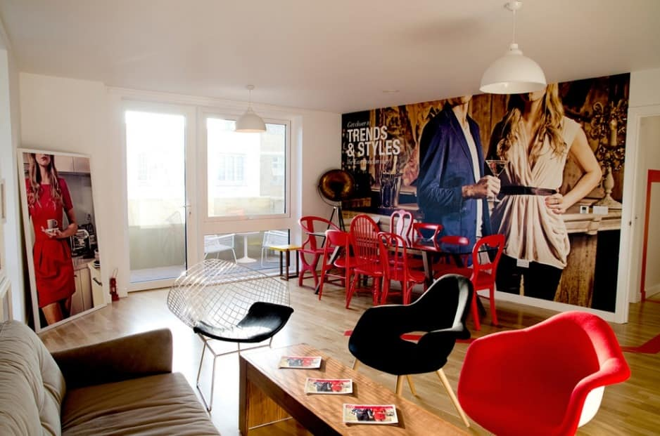 Casual modernity with large photowallpaper at the wall complemented with bright furniture