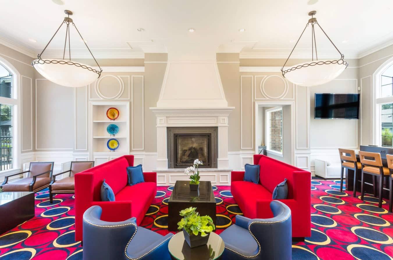Red Living Room: Elegant & Bright Interior Design. Gorgeous color fusion design in contemporary designed living