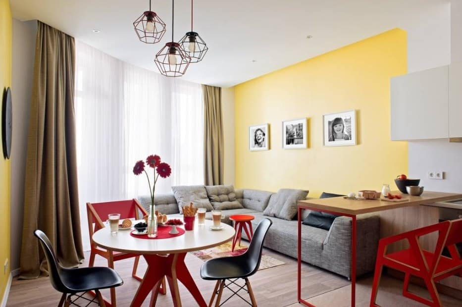 Red Living Room: Elegant & Bright Interior Design. Yellow walls and red plastic furniture color combination
