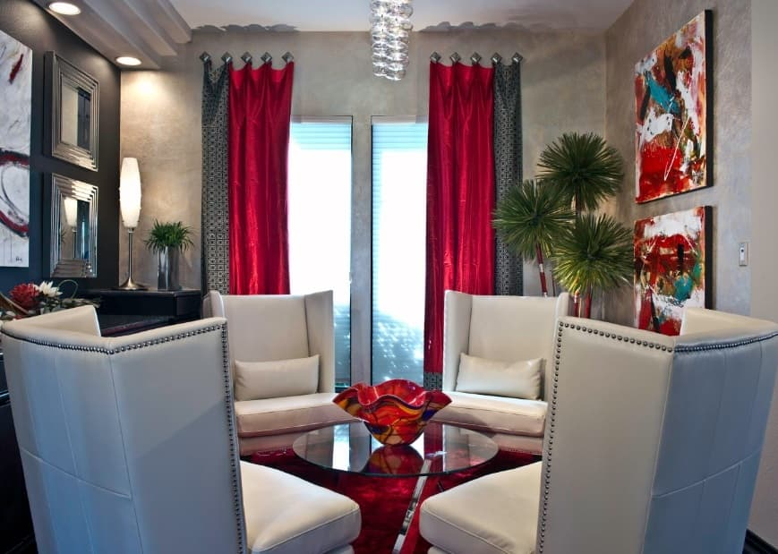 Red Living Room: Elegant & Bright Interior Design. Red curtains for modern styled room