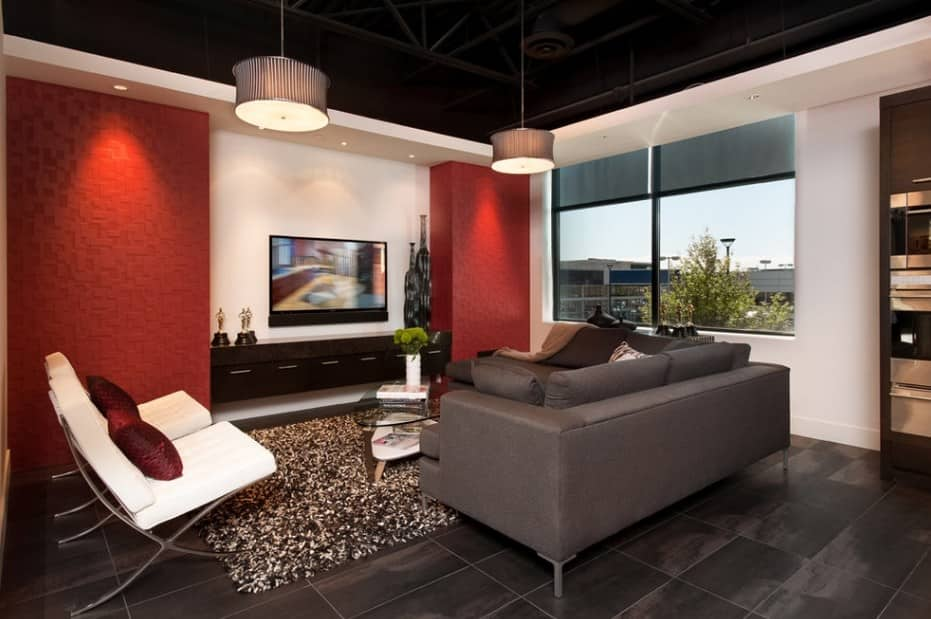 Red Living Room: Elegant & Bright Interior Design. Structured red walls as accents for functional wall