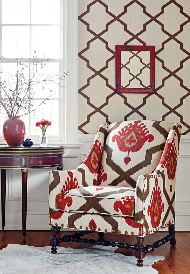 Terracotta Color for Unversal Interior Decoration Ideas. Classic pattern follows the walls and armchair