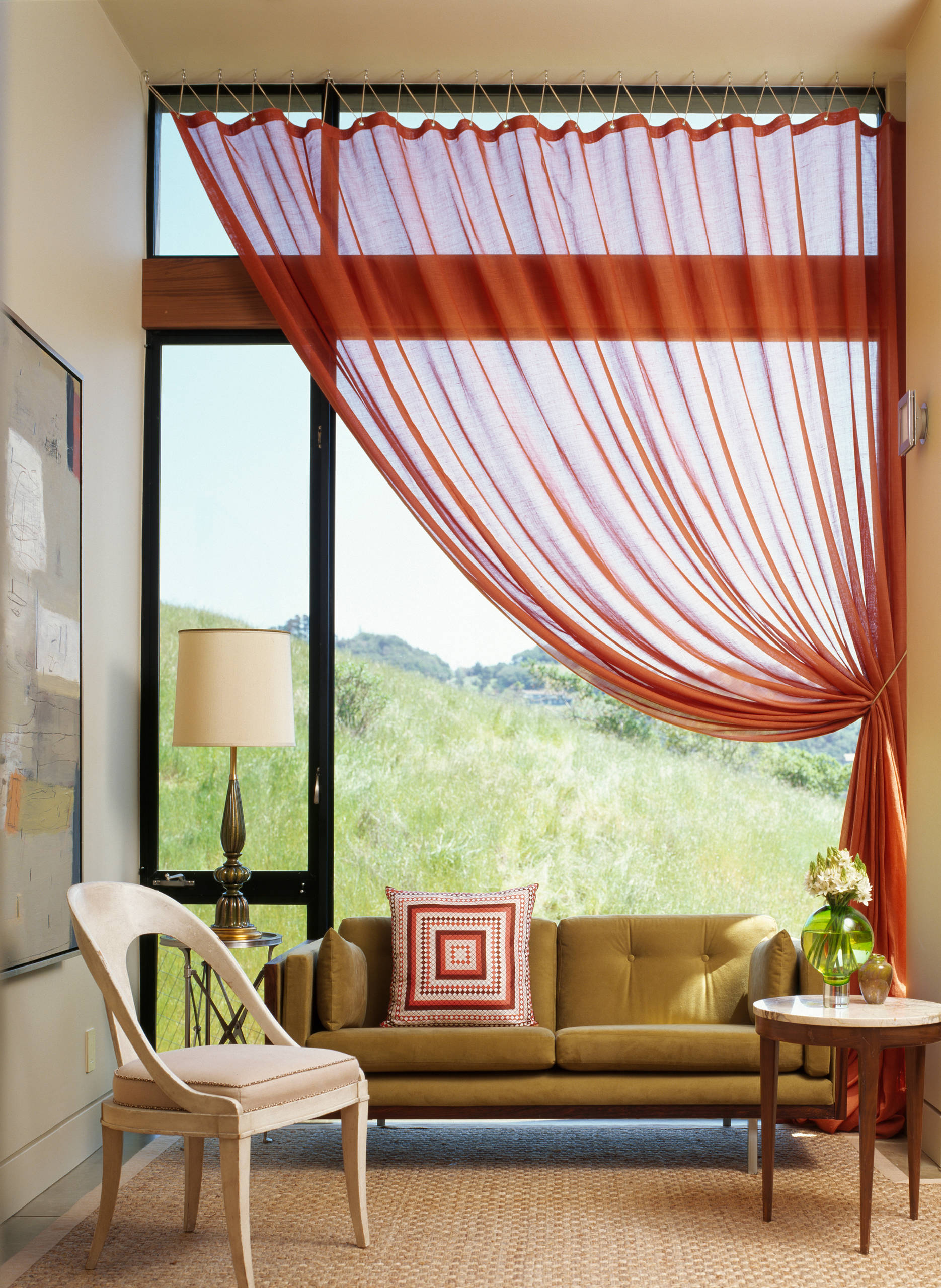 Brick-red transparent linen for curtains