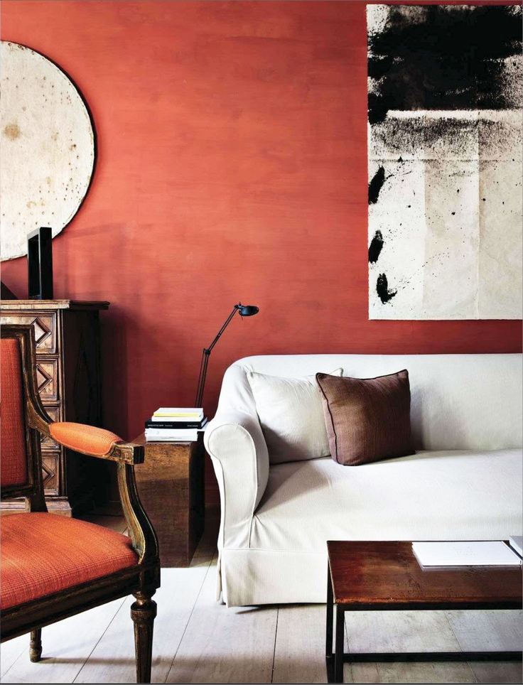 Painting the walls in terracotta color will give the room individuality