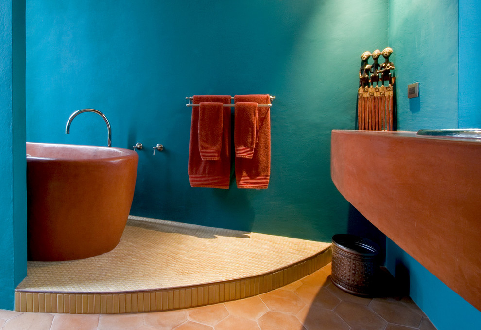 Terracotta Color for Unversal Interior Decoration Ideas. Great design of the bathroom with turquoise walls