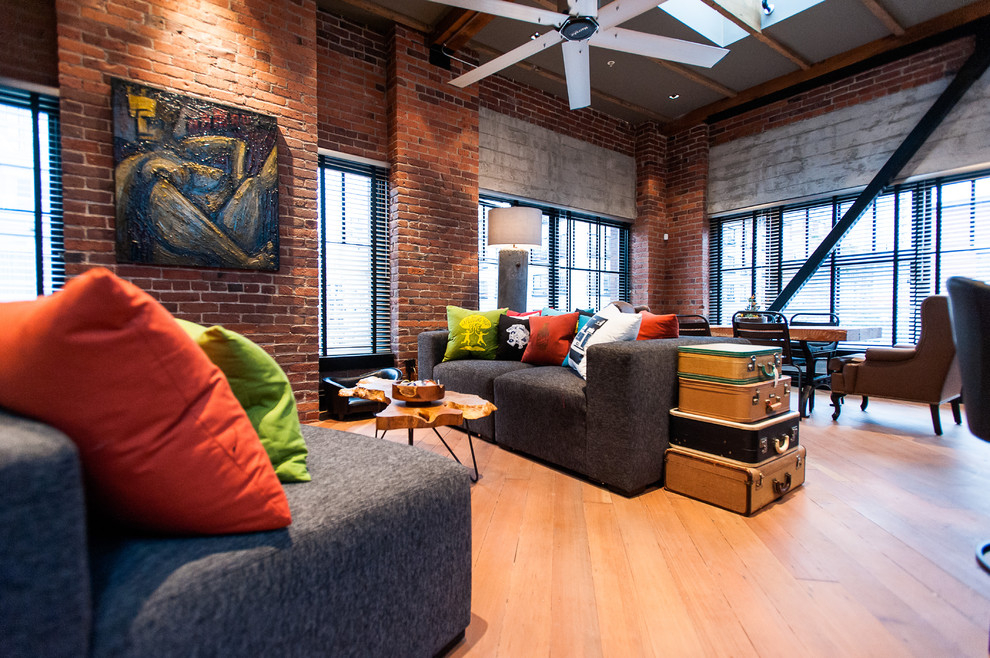 A stylish loft living room will emphasize your sense of taste and individuality