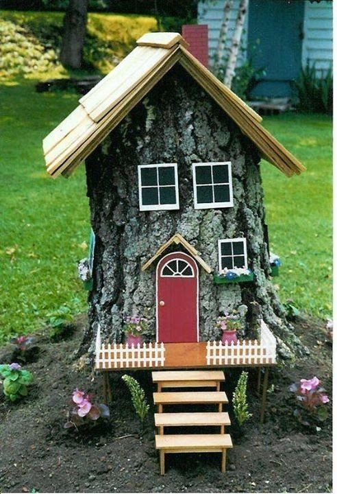 Great Ideas for Your Garden With Tree Stumps. Original gnome house