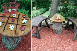 Great Ideas for Your Garden With Tree Stumps. Tic-tac-toe table for relax