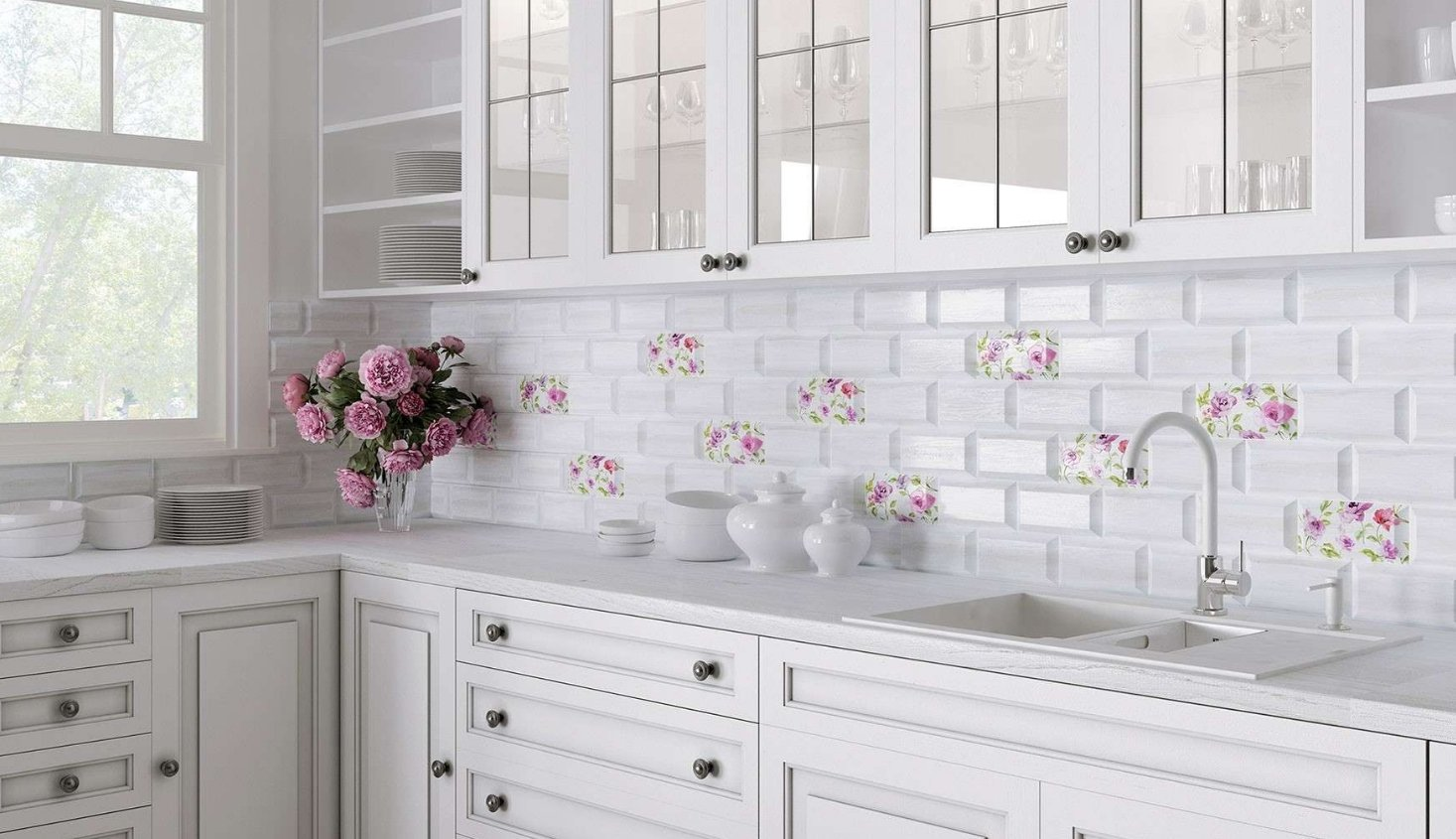 Kitchen Splashback Tile: Best Design and Decoration Ideas. Neat interior with eco floral motiffs