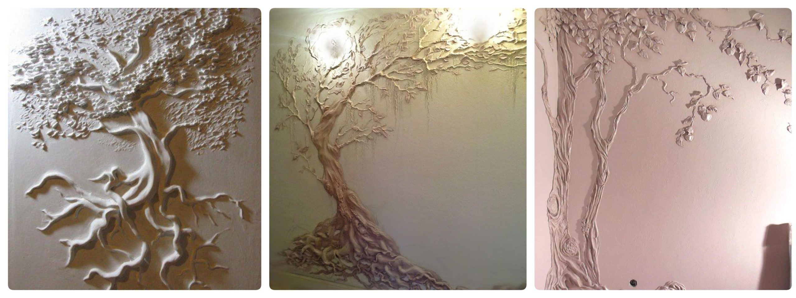 Tree wall sculpture painting as an element of interior design