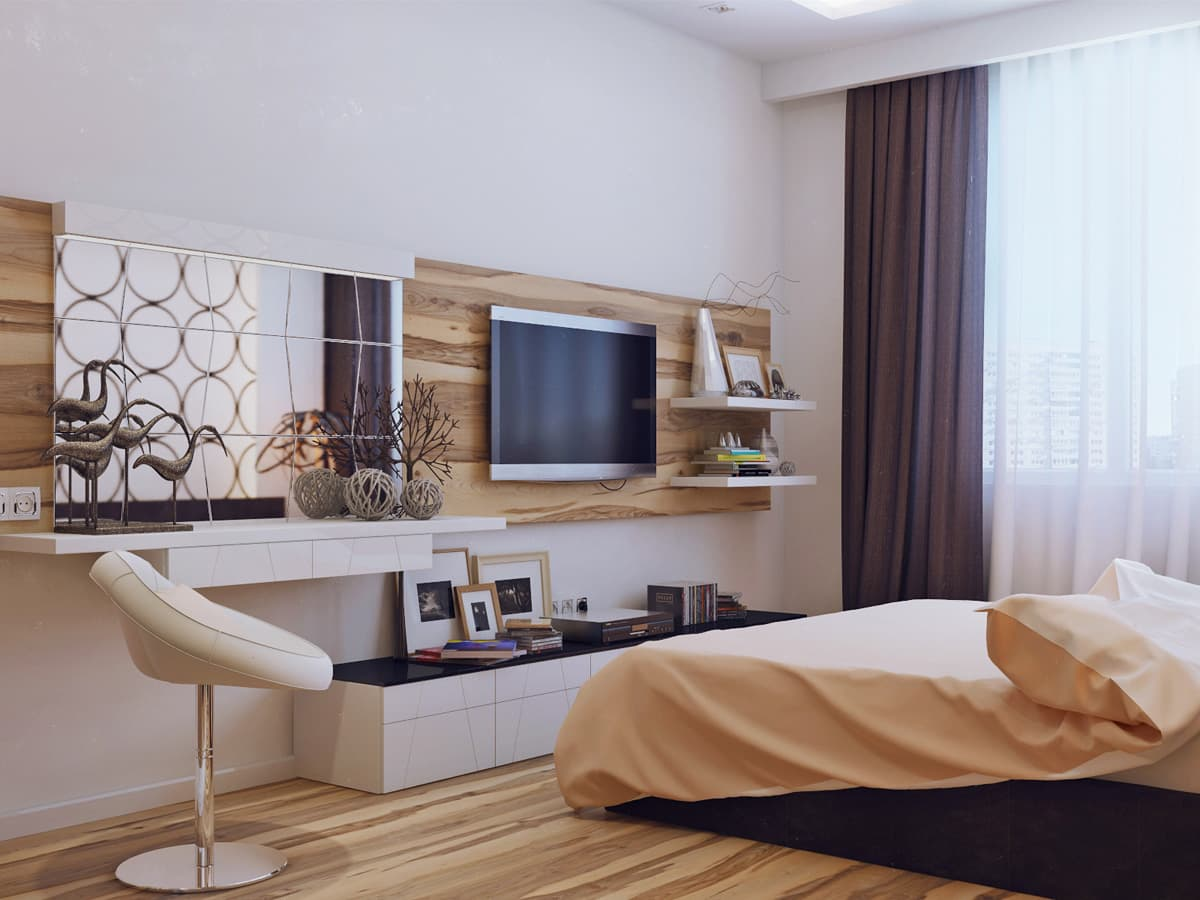 Big Girl Room Interior Design and Decoration Ideas. Beige colored modern space with accent wall and laminate on the floor