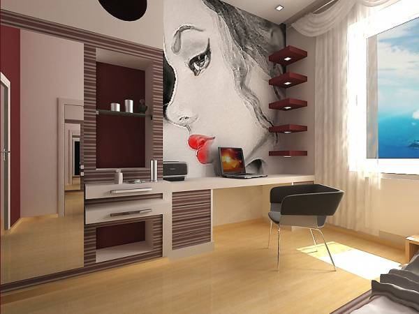 Big Girl Room Interior Design and Decoration Ideas. Face silhouette at the wall to imitate the stage
