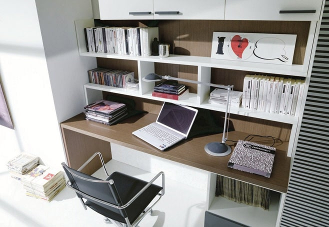 Big Girl Room Interior Design and Decoration Ideas. Desk with open shelves