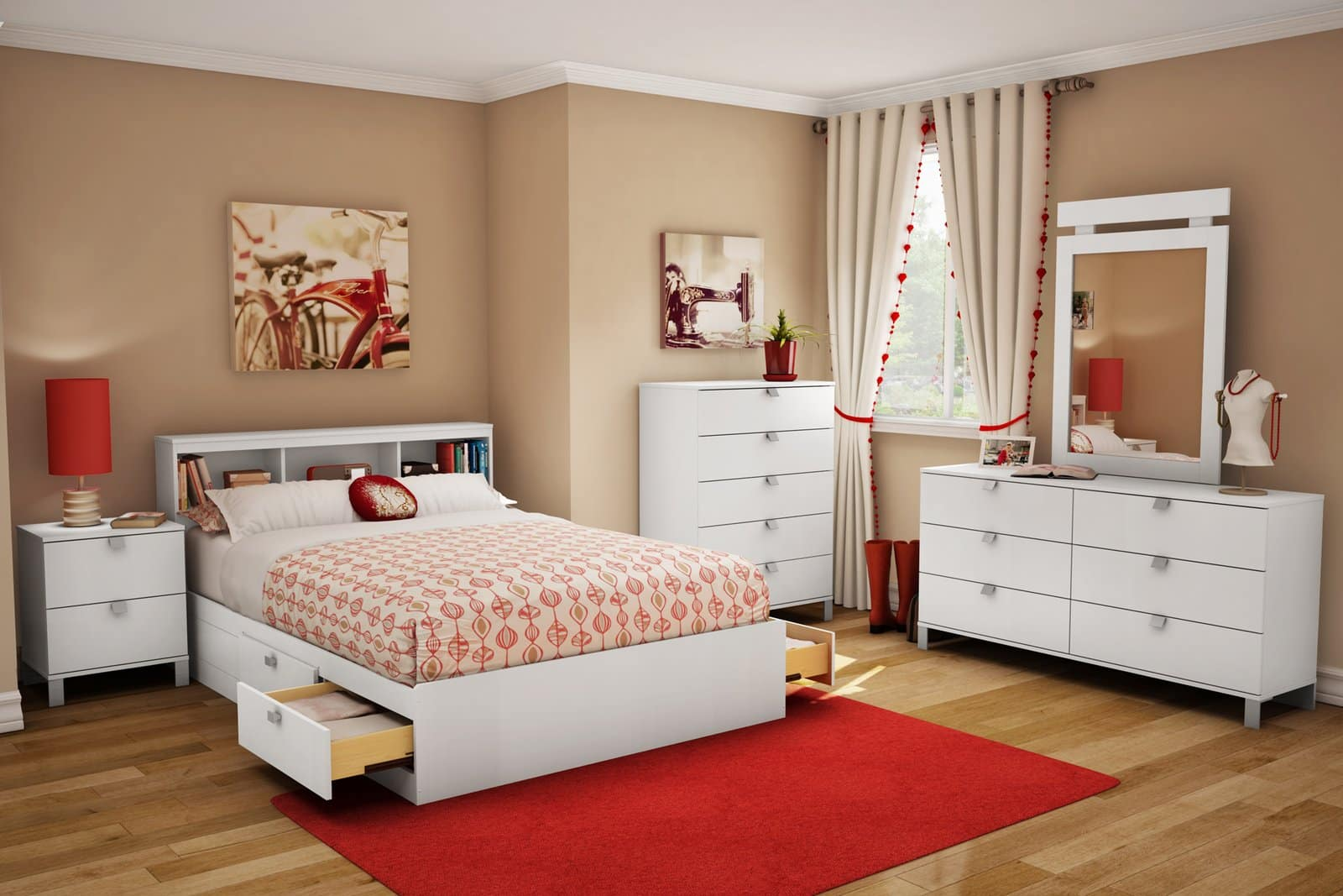 Big Girl Room Interior Design and Decoration Ideas. Red carpet and the bed with built-in storage drawers